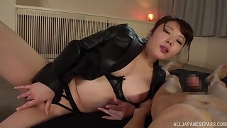 Japan mammy loves the big dick in her fertile in holes