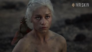 Check out this burnt shallow cognizant of beauty Emilia Clarke flashing pair