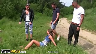 Naughty, suntanned stunner with irresolute cupcakes, Zaza La Coquine Louise had gang fuck-a-thon with insane mates