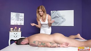 Hot masseuse Chrissy gets her loved cunt drilled by a hung client