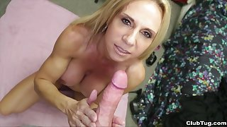 Absolute POV with along to busty mom addicted to along to dick
