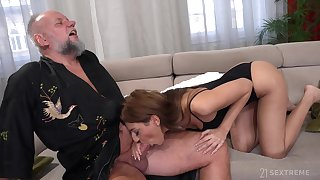 Hispid older man is treated with a scrupulous blowjob by lovely Sarah Cute