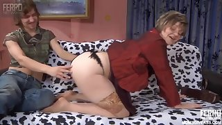 Russian Mature in nude stockings with descendant
