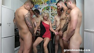 Retired whore Marta goes depraved with several hot with the addition of young dudes