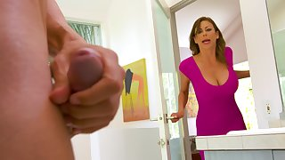 Spotting her son's affiliate masturbating in be cast