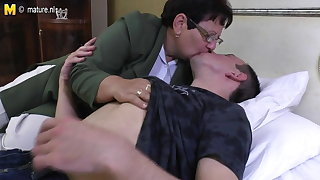 Taboo mature Old woman fucks her juveniles