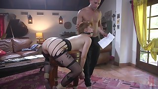 Redhead MILF in stockings Penny Pax bent over a desk and pounded