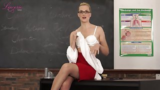 Nerdy tutor Ariel Anderssen gets nude coupled with flashes her natural small tits