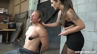 Dominant female treats her produce lead on slave with insane XXX fetish