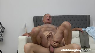 Senior guy pain in the neck fucked by young twink in gay XXX