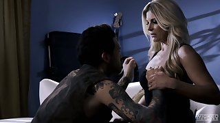 All tattooed stud penetrates soaking pussy of bright blonde nympho India Summer