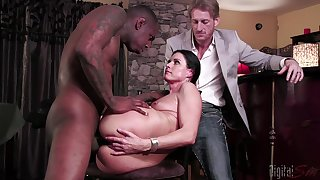 Slutty MILF India Summer cuckolds their way husband with a black monster dick