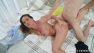 Mama wants the young son's cock in both the brush greedy holes