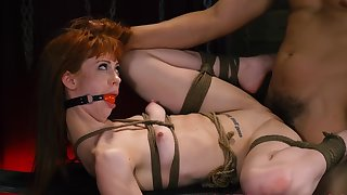Tight redhead endures a lot be expeditious for pain and fucking on every side BDSM