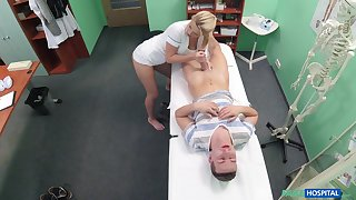 Festival nurse Bianca Fererro spreads her hands and rides her patient