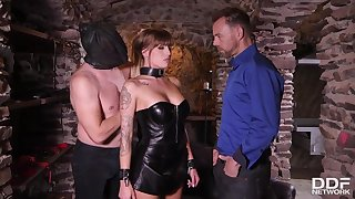 Great anticipating babe in a leather corset and skirt, Silvia Dellai had carnal knowledge with two marketable guys