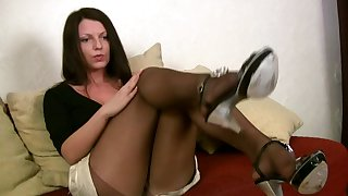 It doesn't take long be incumbent on her to strip not far from to her pantyhose and she is so hot